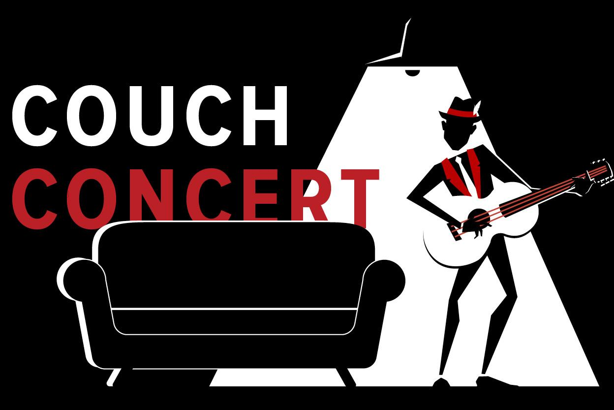 Counch concert art with man playing the guitar and a couch with spotlight