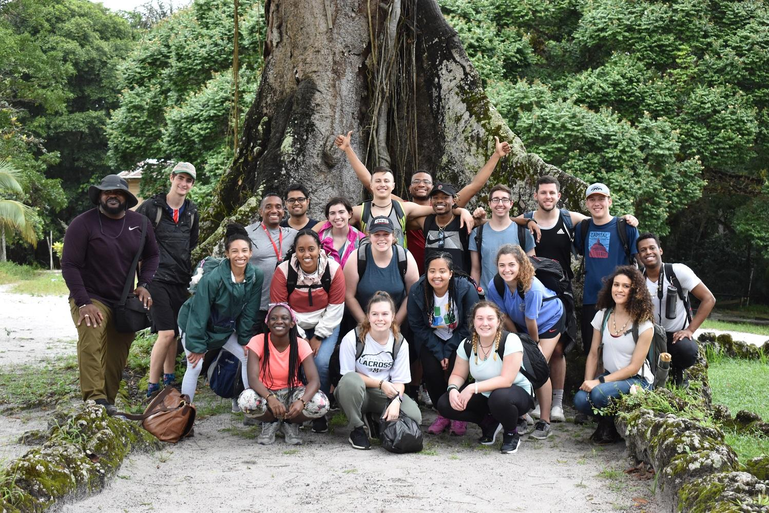 group of students in front of tree