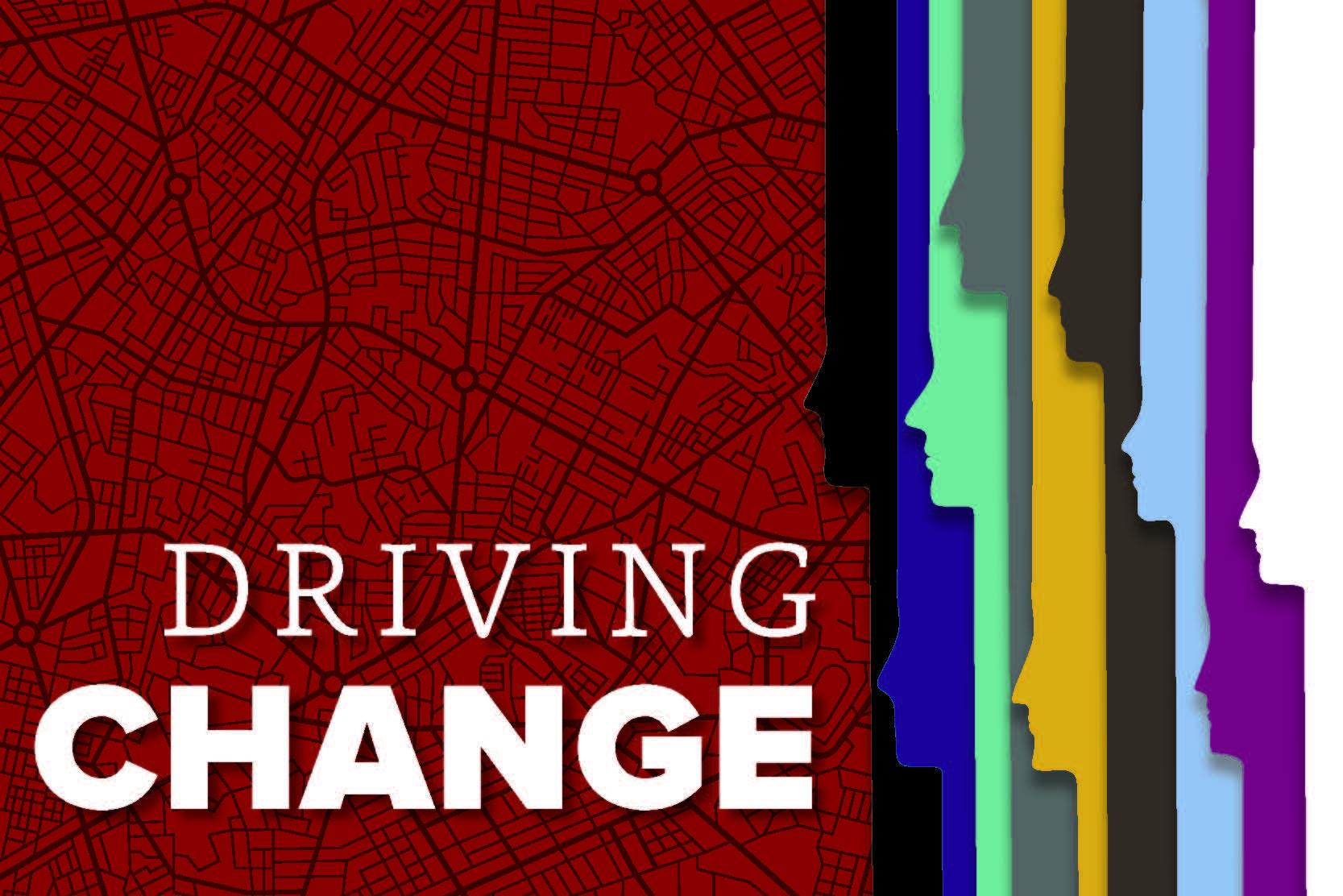 Driving Change with colorful faces in profile