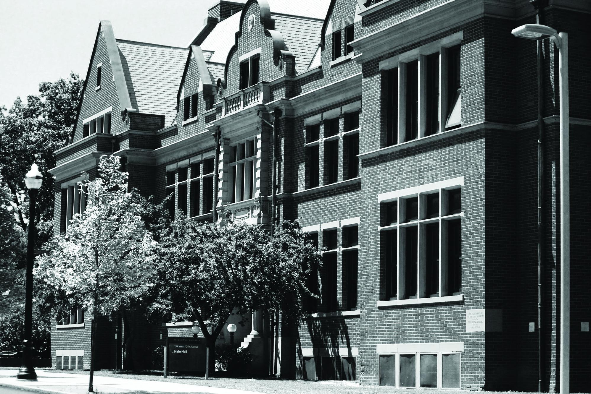 Black and white photo of Hale Hall