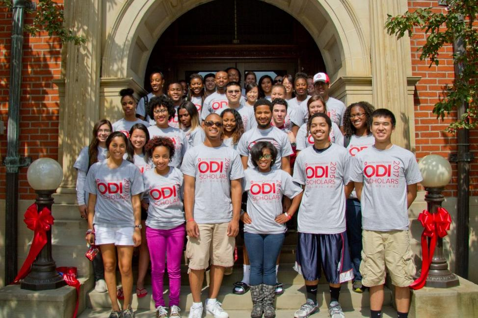 ODI scholars standing on the steps to Hale Hall