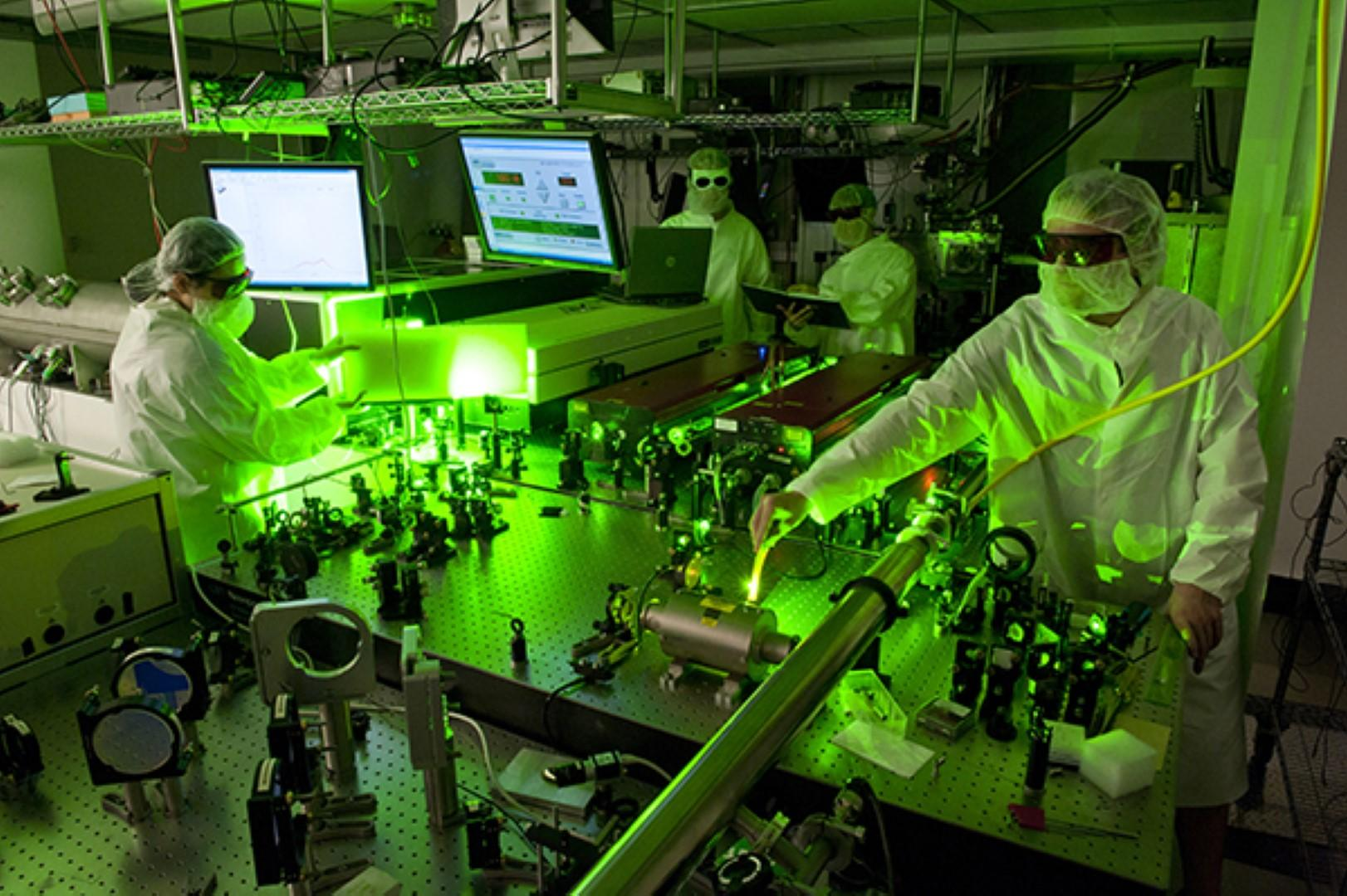 students in lab with green lights