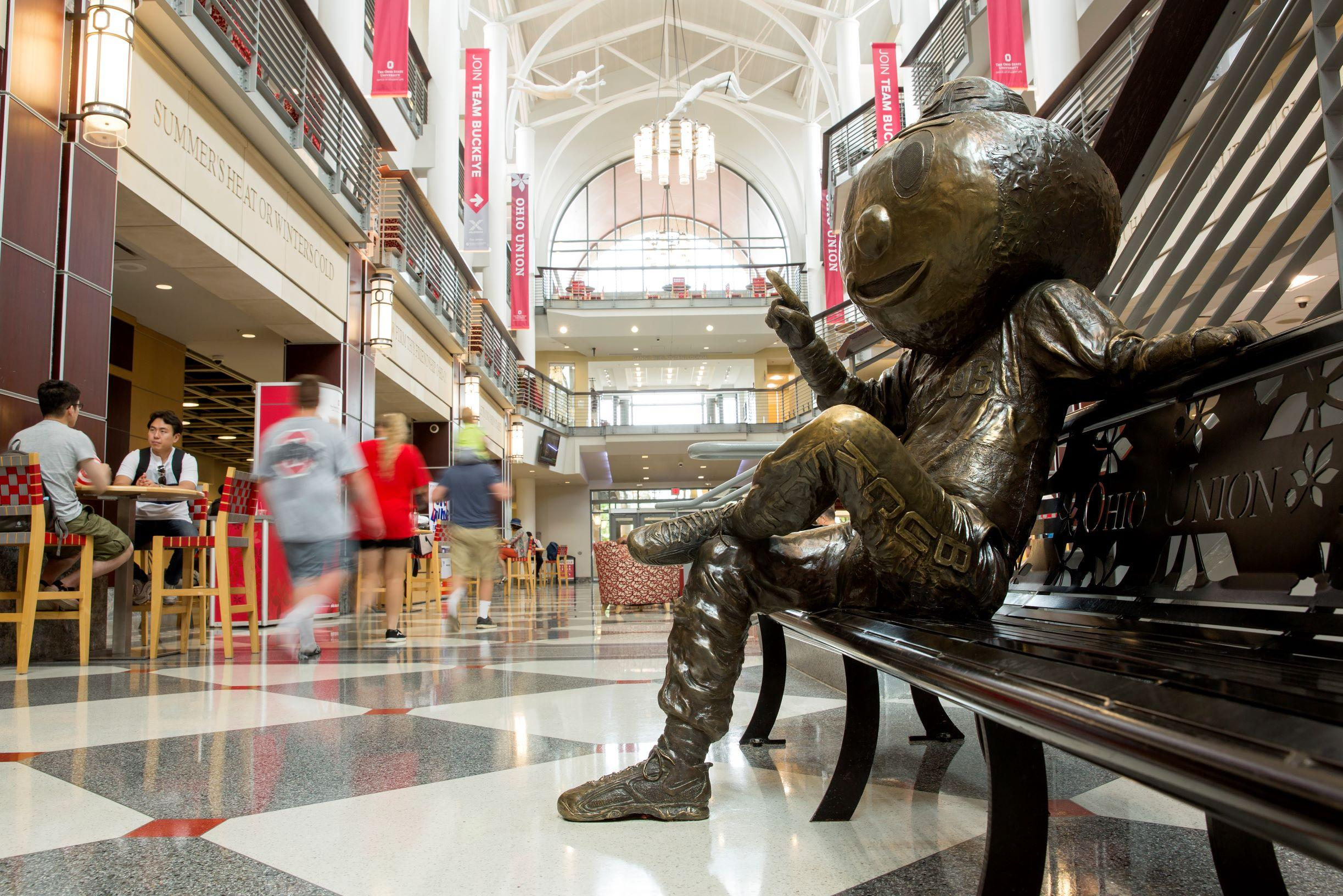 Brutus Buckeye statue in the Ohio Union