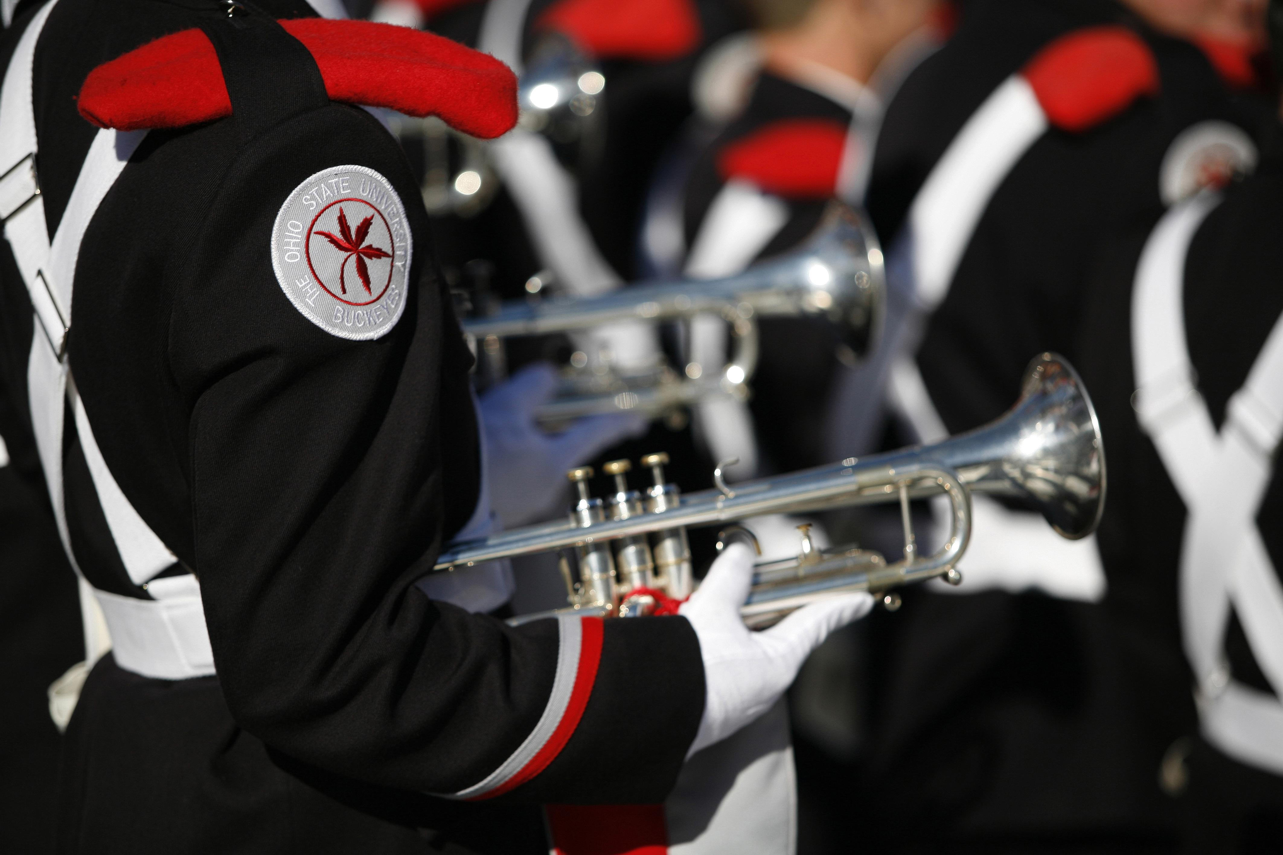 close up photo of OSU marching band trumpets
