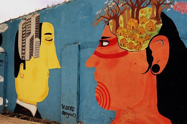 colorful wall mural in Ecuador