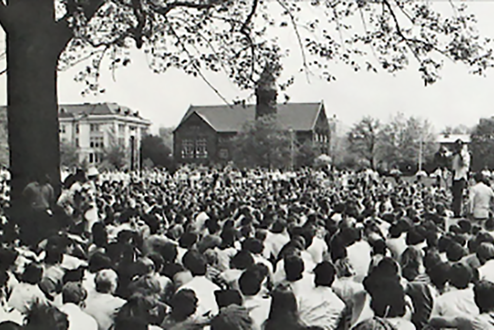 students protesting at Ohio State in 1970s