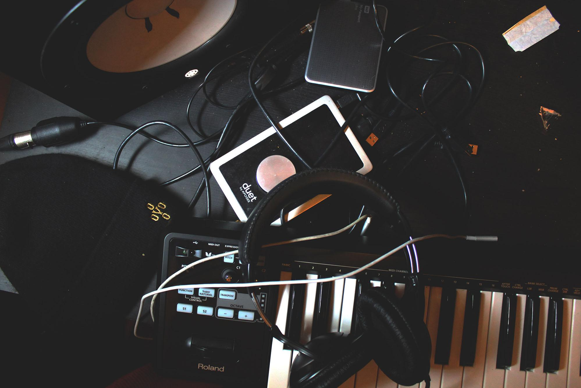 keyboard and headphones and recording equipment