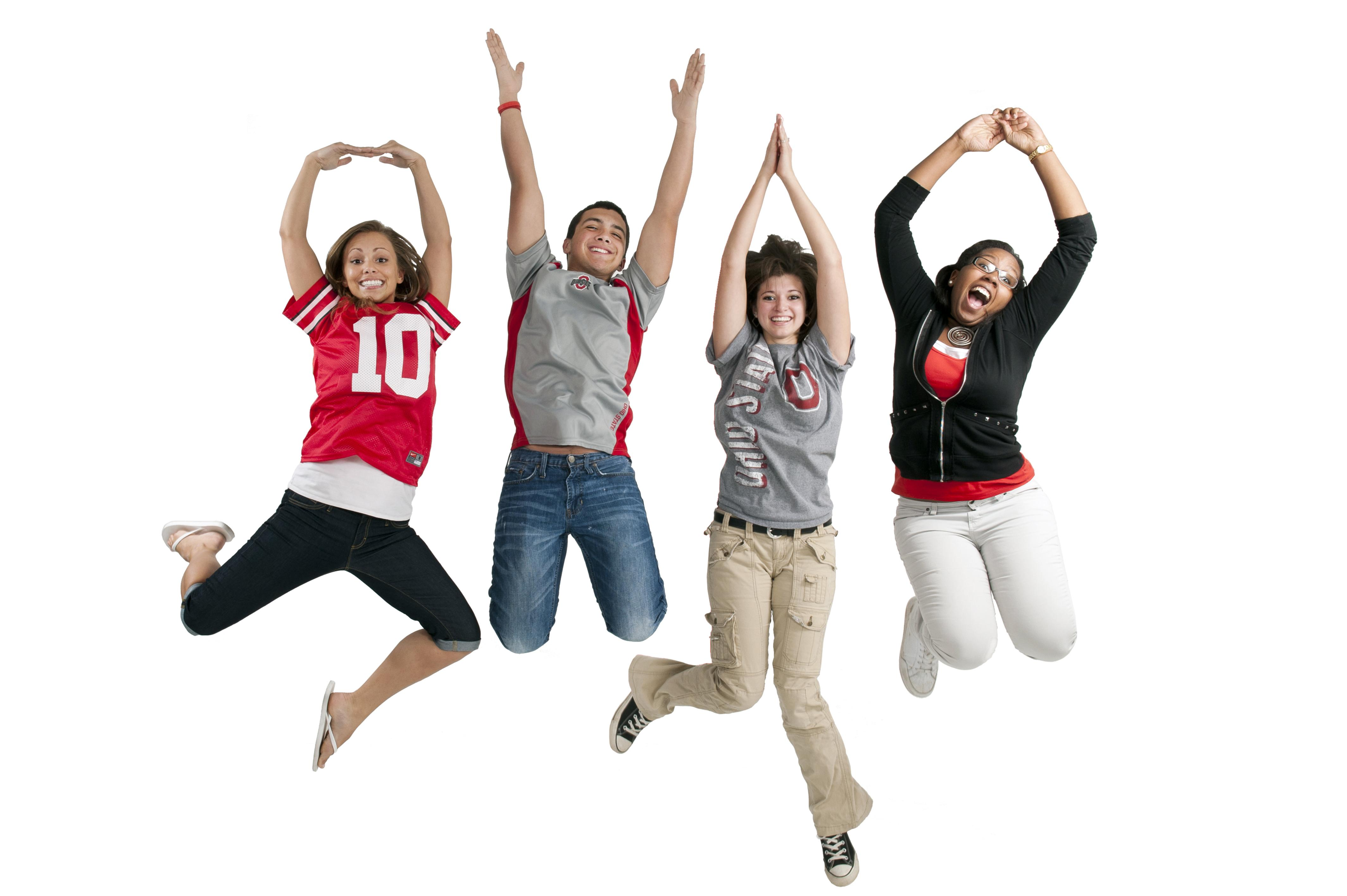 Students spell out O-H-I-O while jumping into the air