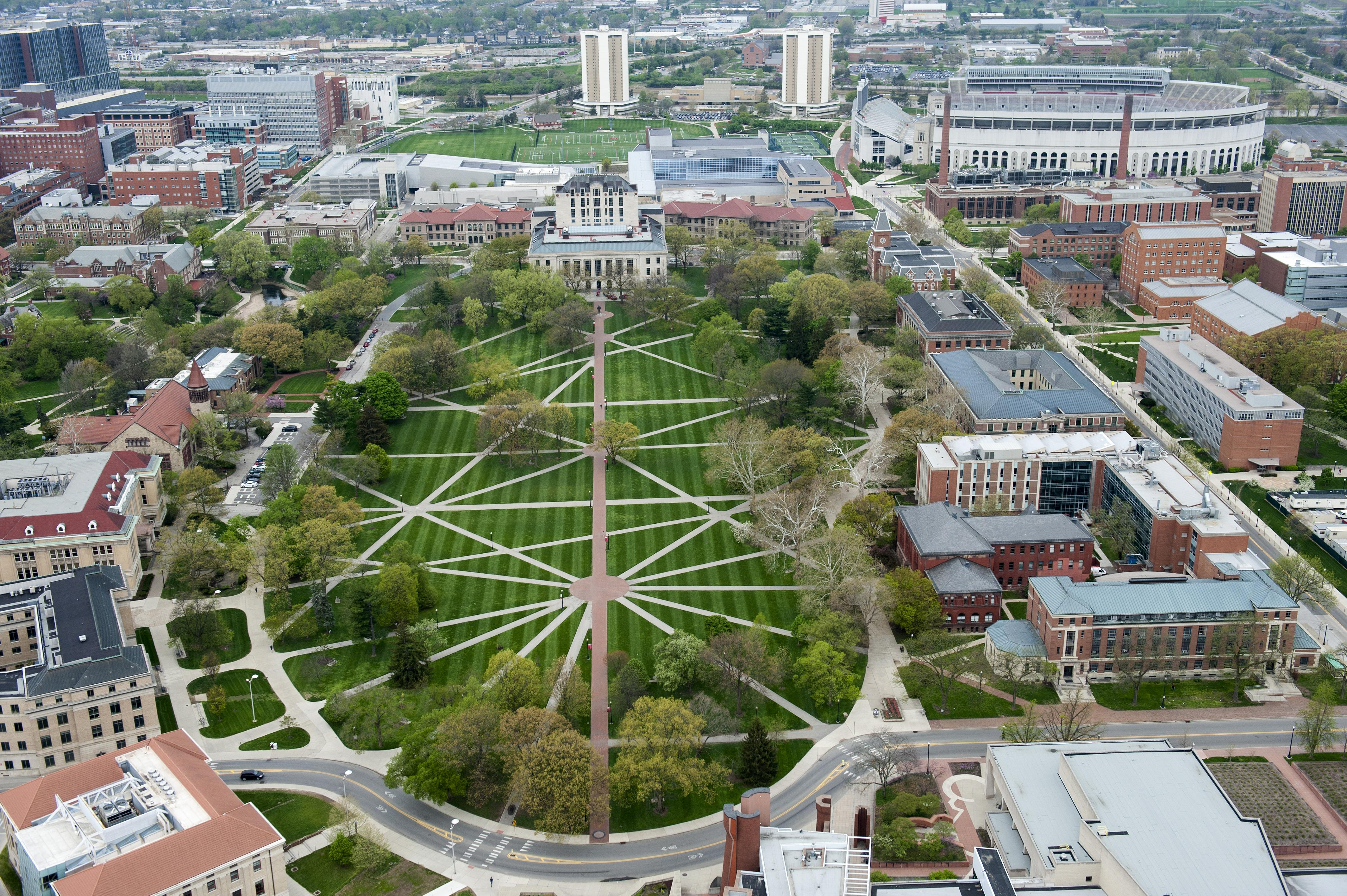 Aerial view of The Ohio State University Oval